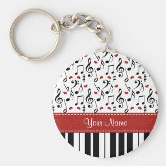 Llavero personalizado del piano de la nota de la m