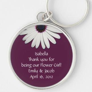 Llavero personalizado florista púrpura de la marga