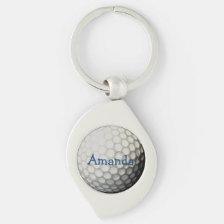 llavero personalizado para los golfistas llavero plateado en forma de espiral