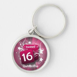 Llavero personalizado rosado del dulce 16 de los r