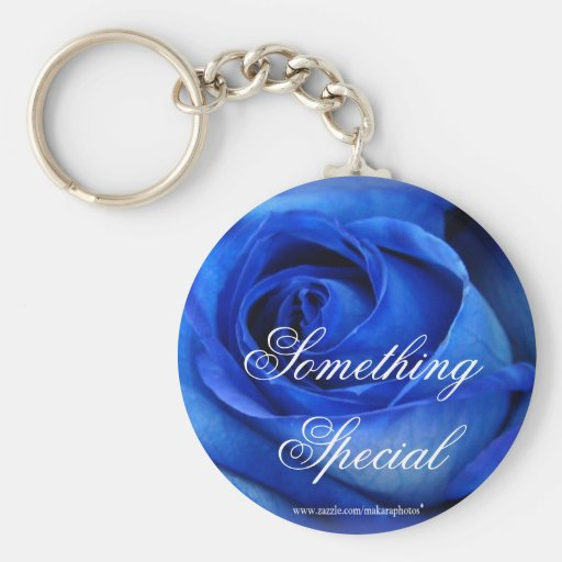Llavero-personalizar azul de los rosas llavero redondo tipo pin
