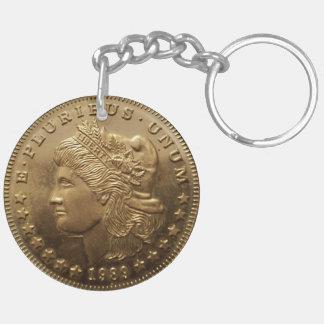 Llavero plateado oro del dólar de plata