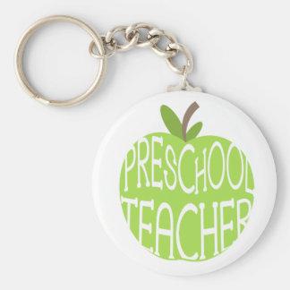 Llavero preescolar del profesor - Apple verde