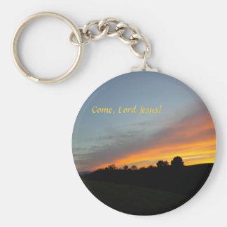 Llavero-Puesta del sol y nubes: ¡Venido, señor Jes Llavero Redondo Tipo Pin