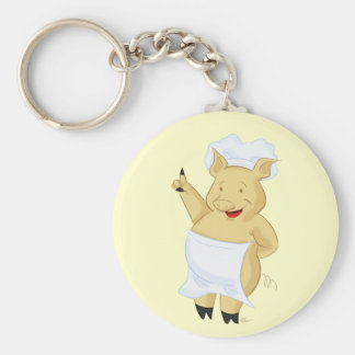 Llavero punteagudo feliz del cocinero del cerdo