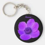 Llavero púrpura adaptable de la flor de la anémona