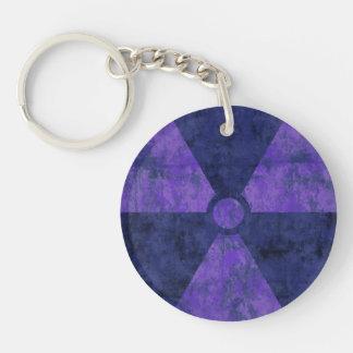 Llavero púrpura apenado del símbolo de la