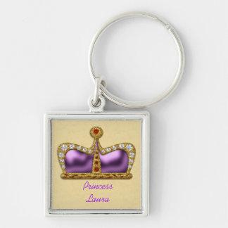 Llavero púrpura de la corona de la piedra preciosa