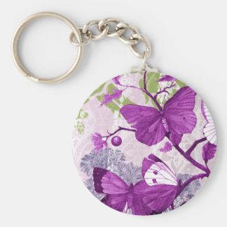 Llavero púrpura de la mariposa llavero redondo tipo chapa