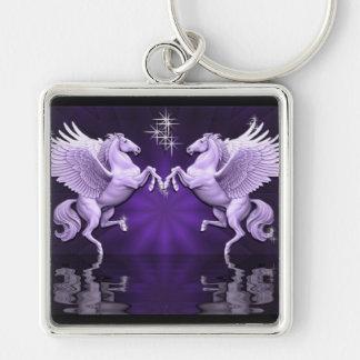 Llavero púrpura de las reflexiones de Pegaso