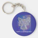 Llavero púrpura del ángel con el mensaje personali