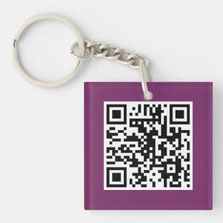 Llavero púrpura del personalizado del CÓDIGO de QR