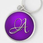 Llavero púrpura inicial de plata