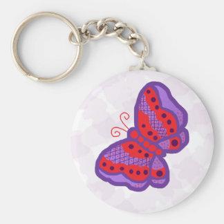 Llavero púrpura rojo de la mariposa de n