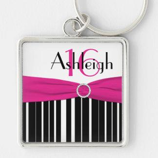 Llavero rayado negro, blanco, rosado 16 con nombre