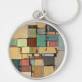 Llavero redondo colorido del metal del arte abstra