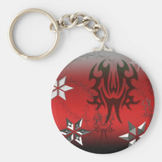 Llavero rojo abstracto del metal