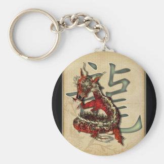Llavero rojo chino del dragón