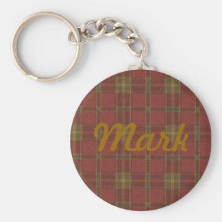 Llavero rojo de encargo de la tela escocesa