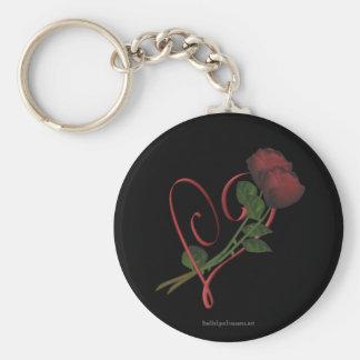 Llavero rojo de la flor del corazón de los rosas r