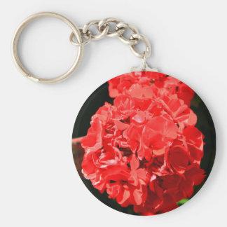 Llavero rojo de la flor del geranio