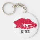 Llavero rojo de los labios del beso