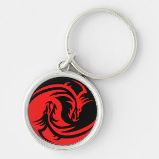 Llavero rojo/negro del dragón de Yin Yang