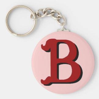Llavero (rojo oscuro) del monograma de B