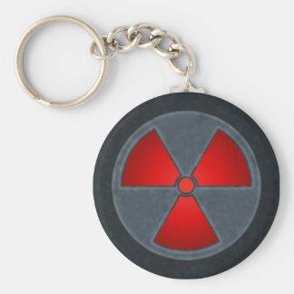 Llavero rojo y gris del símbolo de la radiación