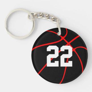 Llavero rojo y negro de encargo del baloncesto