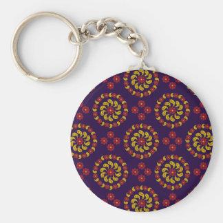 Llavero rojo y púrpura amarillo del modelo de