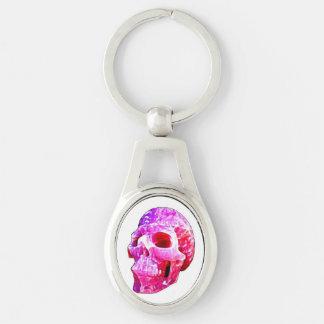 Llavero rosado bonito del cráneo llavero plateado ovalado