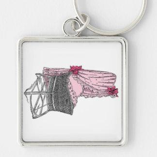 Llavero rosado de la cuna del bebé