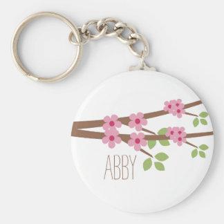 Llavero rosado de la flor de cerezo - personalice