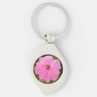Llavero rosado de la flor llavero plateado en forma de espiral