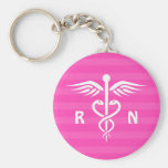 Llavero rosado del caduceo del RN de la enfermera