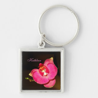 Llavero rosado del cuadrado de la orquídea