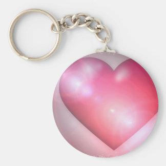 Llavero rosado del diseño del corazón