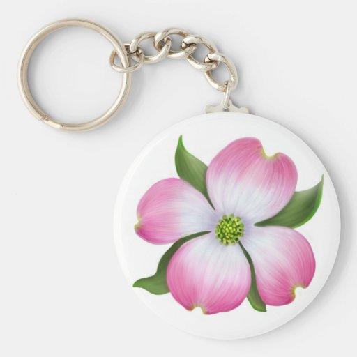 Llavero rosado del flor del Dogwood