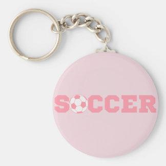 Llavero rosado del fútbol