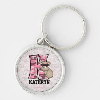"""Llavero rosado del monograma """"K"""" de la koala del n"""