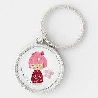 Llavero rosado del premio del trío de Kokeshi