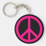 Llavero rosado del signo de la paz