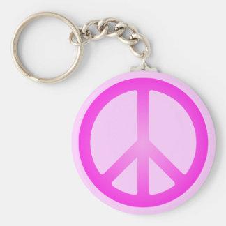 Llavero rosado del símbolo de paz