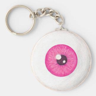 Llavero rosado espeluznante del globo del ojo
