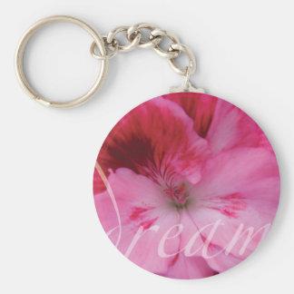 Llavero rosado ideal de la flor del geranio