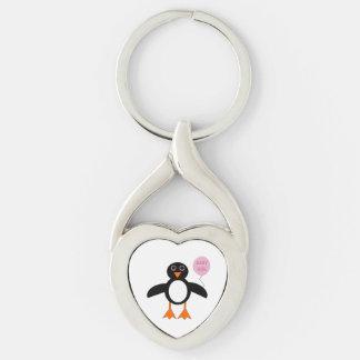 Llavero rosado lindo del pingüino de la niña llavero plateado en forma de corazón