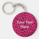 Llavero rosado llano del estampado leopardo