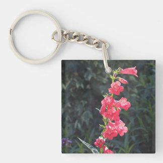 Llavero rosado Sunlit del acrílico de la flor del