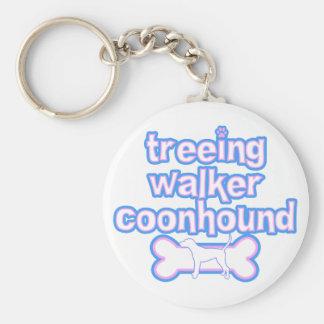 Llavero rosado y azul del Coonhound del caminante